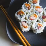 A plate of sushi and a pair of chopsticks.