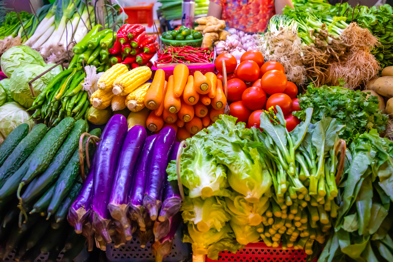 Fresh vegetables and fruits at local market