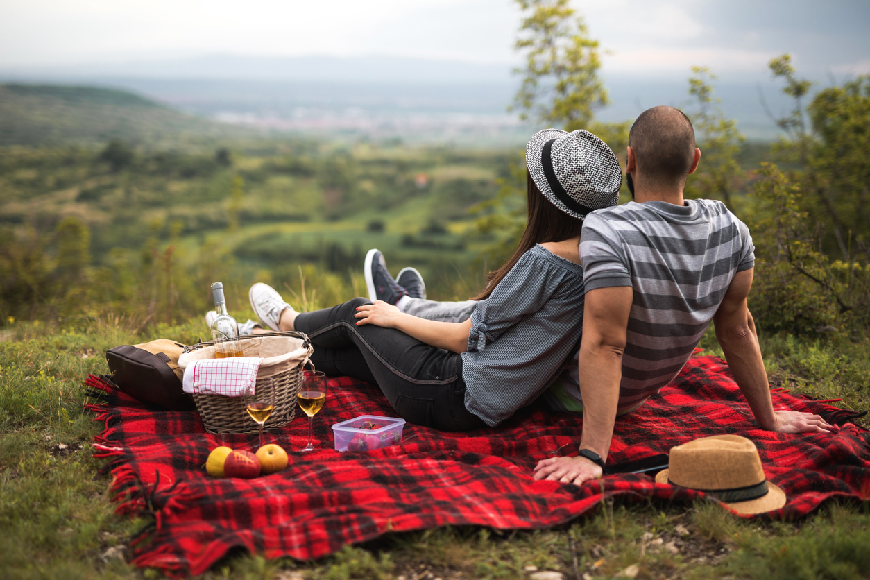 couple having a picnic on a hillside outdoors
